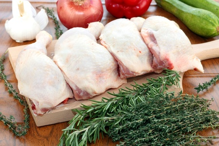 raw chicken: Chicken thighs for cooking a casserole