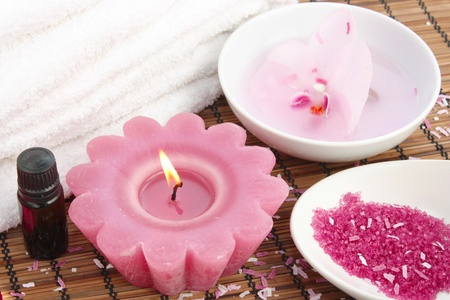Relaxing spa concept with aromatherapy oil Stock Photo