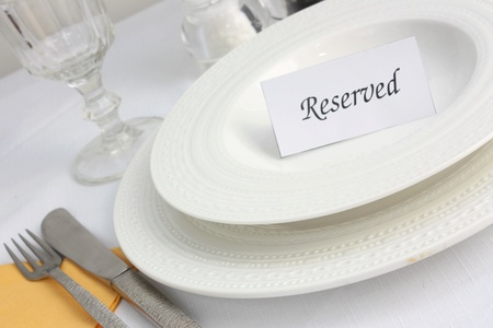night table: Restaurant table reservation Stock Photo