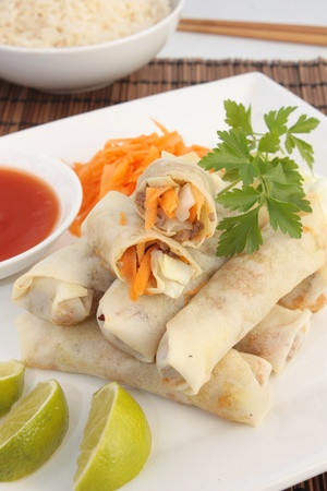 Spring rolls with sweet and sour sauce Stock Photo - 11374487