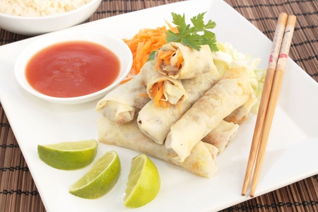 Spring rolls and sweet and sour sauce Stock Photo - 11374488