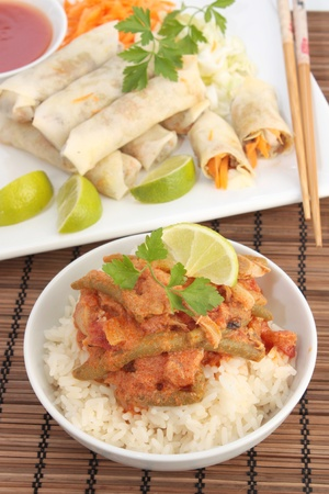 Thai food including red chicken curry and spring rolls Stock Photo - 11374492