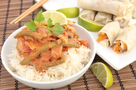 Thai chicken curry with spring rolls Stock Photo - 11374491