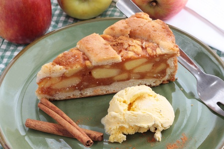 Apple pie with icecream photo