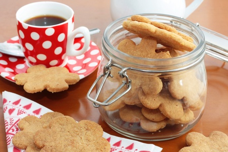 Homemade butter cookies and coffee Stock Photo
