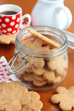 teatime: Homemade butter cookies with coffee Stock Photo