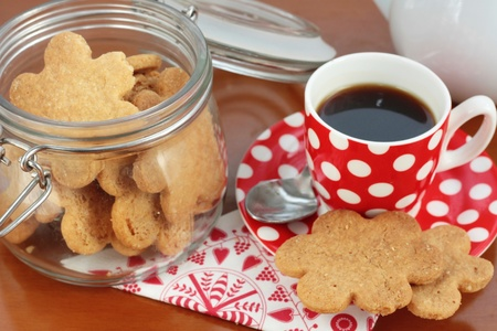 Coffee with homemade butter cookies photo