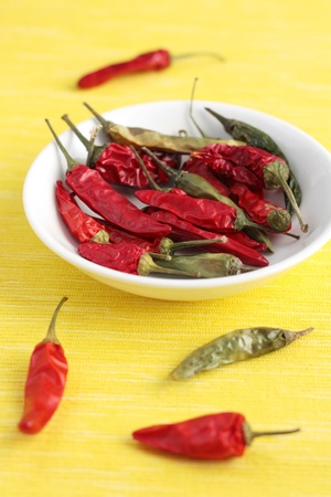 A bowl of dried green and red chilies on a yellow background.