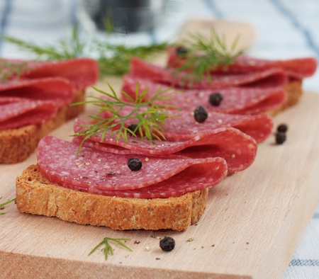 Salami on Wholemeal Bread Stock Photo