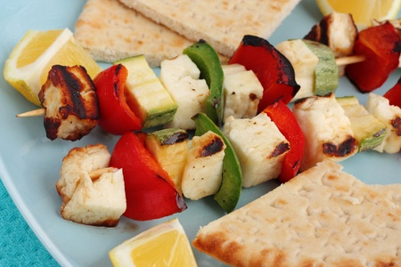 Halloumi cheese souvlaki close-up