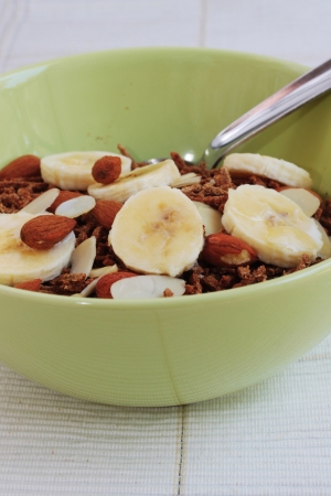 Bran cereal with fruit Stock Photo