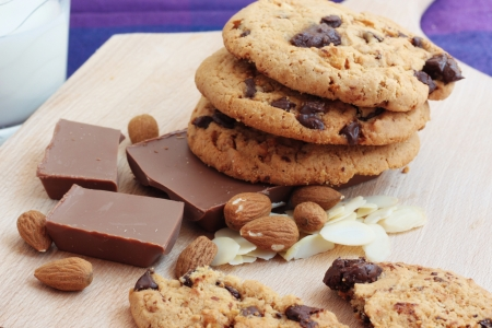 flaked: Chocolate Cookies With Milk Stock Photo