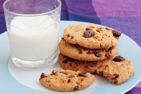 Chocolate Cookies With Milk Stock Photo