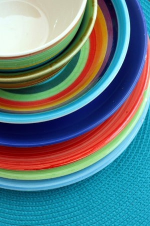 Colourful bowls and plates