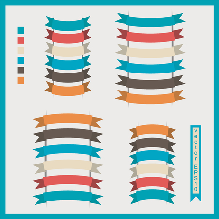 Set of vector ribbons for lettering in retro style Illustration