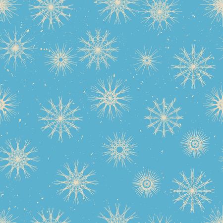 snowfalls: Seamless pattern winter stile - big and small snowflakes