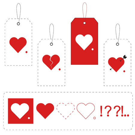 express feelings: Tags with hearts and additional symbols to express yours emotions, experiences or feelings. Decoration Gift Valentines Day. Isolated. Vector EPS10. Illustration