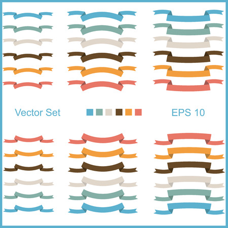 blu: Set of vector ribbons for lettering in retro style - red, blu, green and yellow colors.