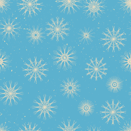stile: Seamless pattern winter stile - big and small snowflakes.