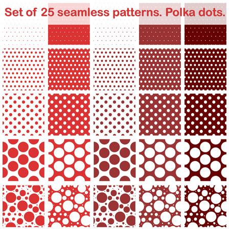 Set of twenty fives polka dots seamless patterns. Shades of red.