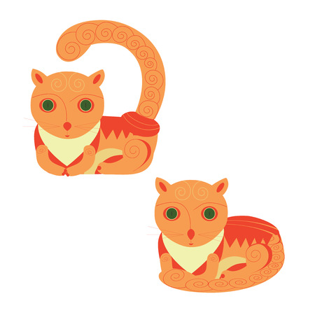 foxy: Funny Foxy Cats Icons Vector Set. Cartoon character. Illustration