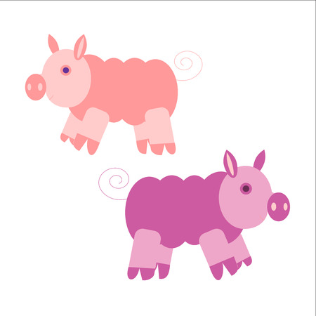 grunt: Illustration of very cute piggy. Vector EPS10.