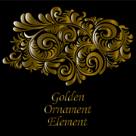 Ornamental gold and swirly decorative element, on black background isolated on separate layer.
