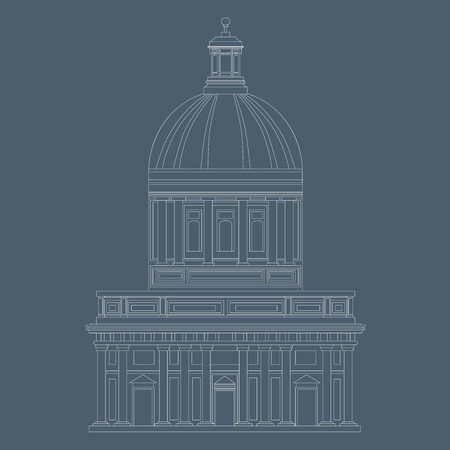 cupola: An illustration of historical dome house in white colored lines on blu background.