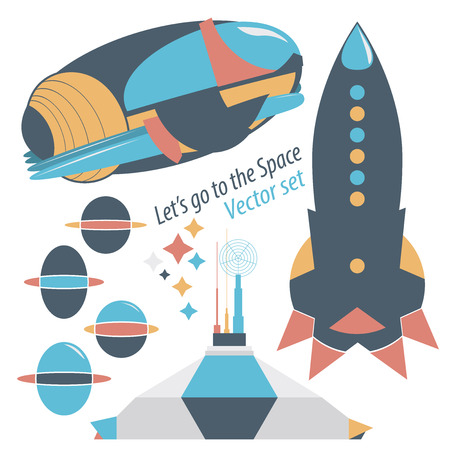 space station: Spaceship, rocket and spase station with robots vector set illustrations - all that is necessary for you to travel into space.