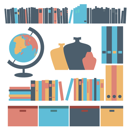 belongings: Illustration of modern belongings for shelves. Books, document case and boxes, globe an vases.