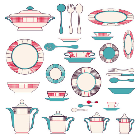 dishes set: Set of kitchen utensil and collection of tableware illustration - dishes, cutlery, tea pot and cups. Illustration