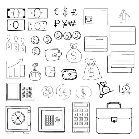 time account: Hand drawn set of money related icons for your design. Illustration