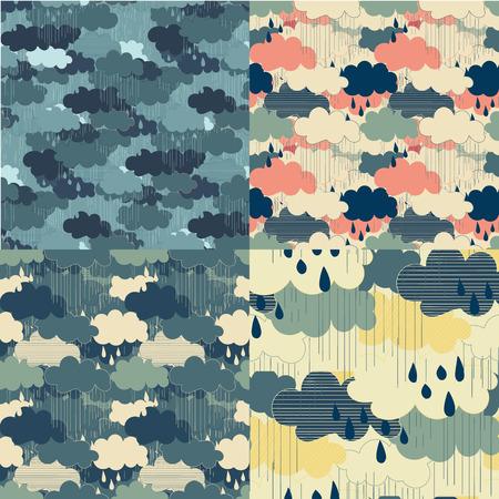 cloudburst: Seamless pattern with clouds and rain. Rain season illustrations.