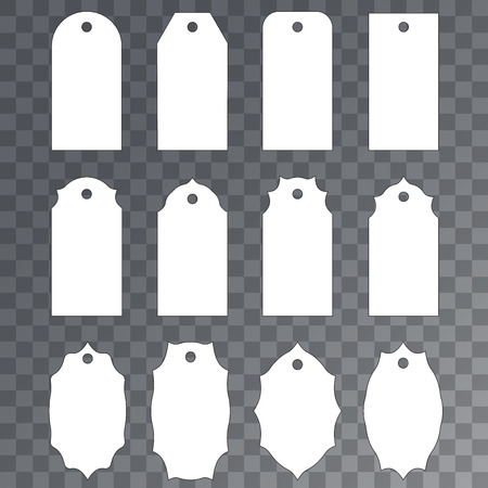 Blank sale or gift tags set. Hang tags on transparent background. Rectangular, star and badge shape. Shopping label with place for price and discount captions. illustration.
