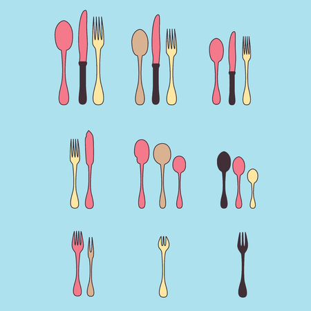 A set of cutlery. Cutlery spoon, fork, blender, knives. Cutlery for cooking. A set of cutlery for serving. Line set of kitchen cutlery. Vector. Illustration