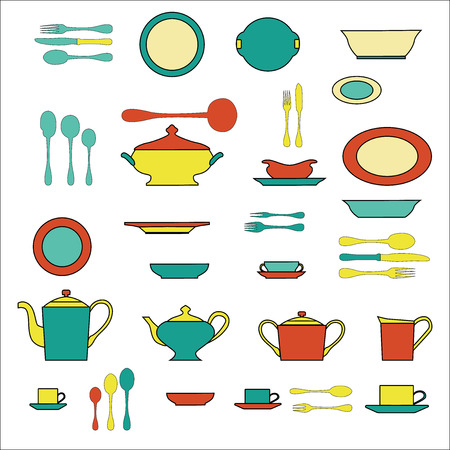 measuring spoon: Set of kitchen utensil and collection of tableware illustration - dishes, cutlery, tea pot and cups. Illustration