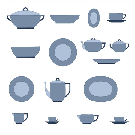 measuring cup: Set of kitchen utensil and collection of tableware illustration - dishes, tea pot and cups. Illustration