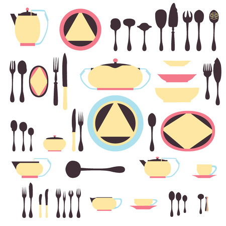 Set of kitchen utensil and collection of tableware illustration - dishes, cutlery, tea pot and cups. Illustration