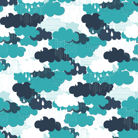 Seamless pattern with clouds and rain. Rain season vector illustrations.