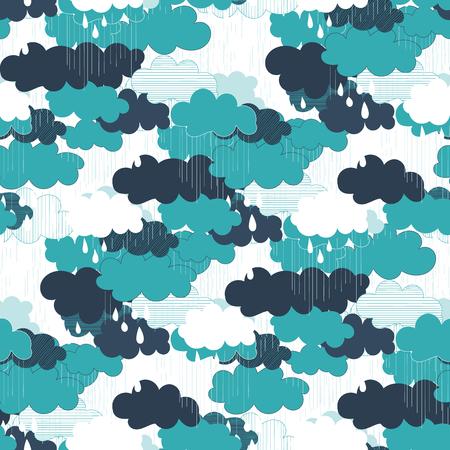 cloudburst: Seamless pattern with clouds and rain. Rain season vector illustrations.