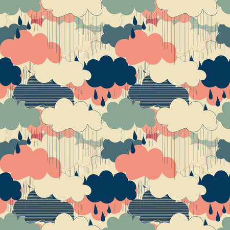 monsoon clouds: Seamless pattern with clouds and rain. Rain season vector illustrations.