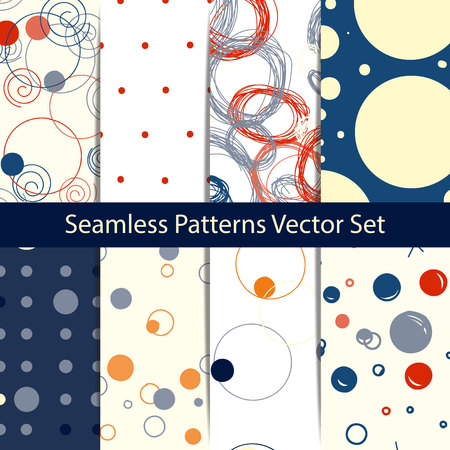 dos: Set of Circle patterns. Modern stylish texture. Repeating dos round abstract background for wall paper. Flat minimalistic design. Illustration