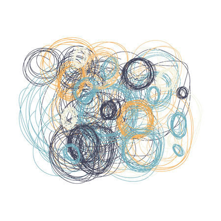 white bacground: Hand drawn circles. Ethnic style. Natural tones. Design element isolated on white bacground. Illustration