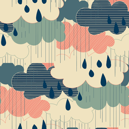 cloudburst: Seamless pattern with clouds and rain. Rain season vector illustrations.