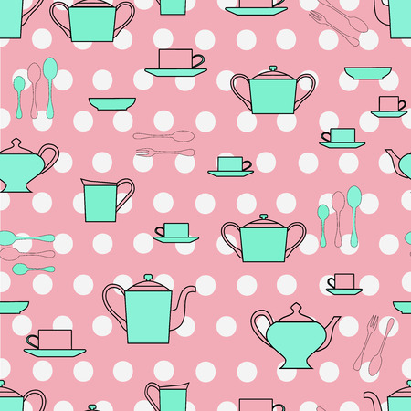 tea set: Seamless pattern utensil. Kitchen staff plates, cups, cutlery and tea set.
