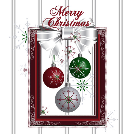 golden ball: Illustration of christmas decoration with red frame white bow and snowflakes Illustration