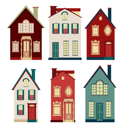 old houses: Set of illustrations from old houses. Six of the old two-storey houses on a white background.