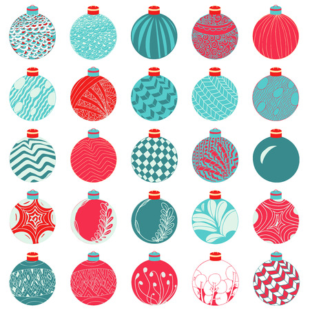 illustrating: Vector Christmas Ball Decoration Set. Doodle hand drown style.