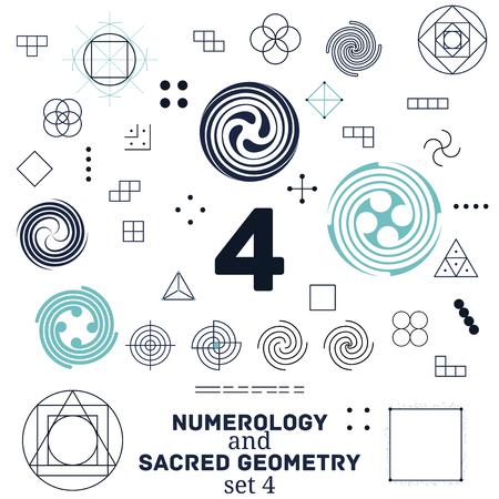 numerology: Sacred geometry and numerology symbols vector illustration.