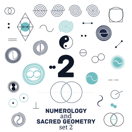 Sacred geometry and numerology symbols vector illustration.